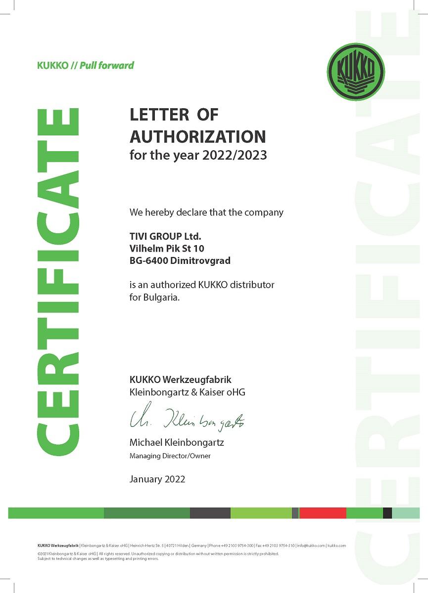 Certificate KUKKO